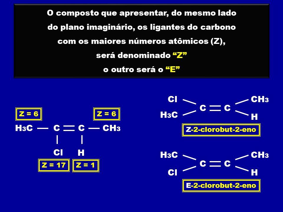 C O composto que apresentar, do mesmo lado do plano imaginário, os ligantes do carbono com os maiores números atômicos (Z), será denominado Z o outro