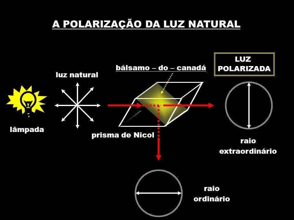 A POLARIZAÇÃO DA LUZ NATURAL lâmpada luz natural prisma de Nicol bálsamo – do – canadá raio extraordinário raio ordinário LUZ POLARIZADA