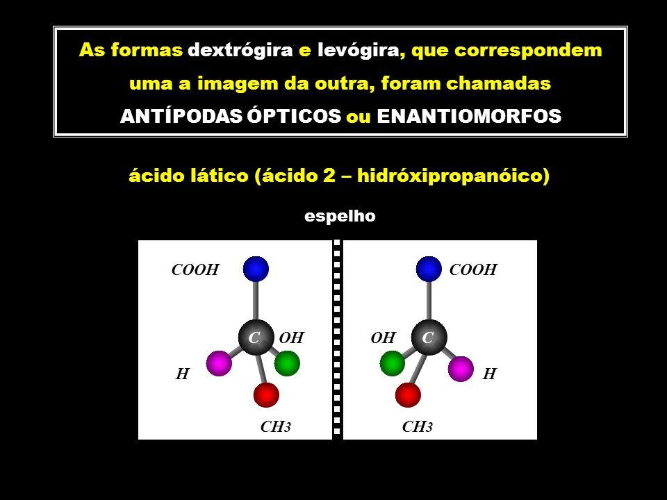 As formas dextrógira e levógira, que correspondem uma a imagem da outra, foram chamadas ANTÍPODAS ÓPTICOS ou ENANTIOMORFOS ácido lático (ácido 2 – hid