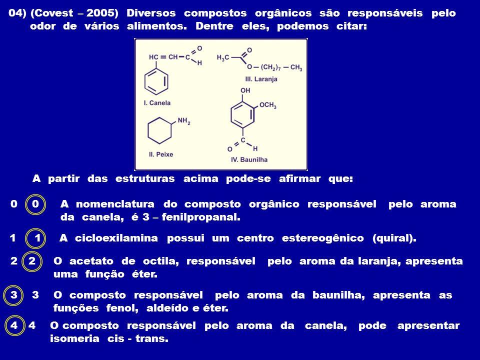 04) (Covest – 2005) Diversos compostos orgânicos são responsáveis pelo odor de vários alimentos. Dentre eles, podemos citar: A partir das estruturas a