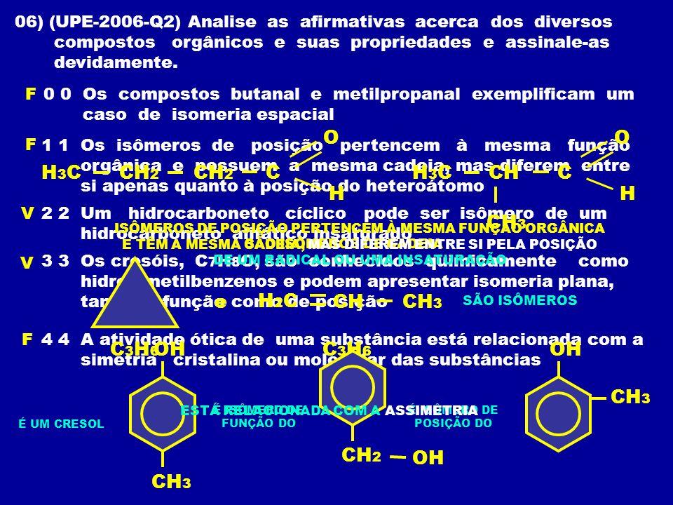 06) (UPE-2006-Q2) Analise as afirmativas acerca dos diversos compostos orgânicos e suas propriedades e assinale-as devidamente. 0 0 Os compostos butan