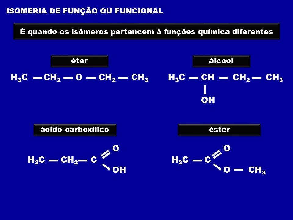 ISOMERIA DE FUNÇÃO OU FUNCIONAL É quando os isômeros pertencem à funções química diferentes H 3 C CH CH 2 CH 3 OH H 3 C CH 2 O CH 2 CH 3 éter álcool á