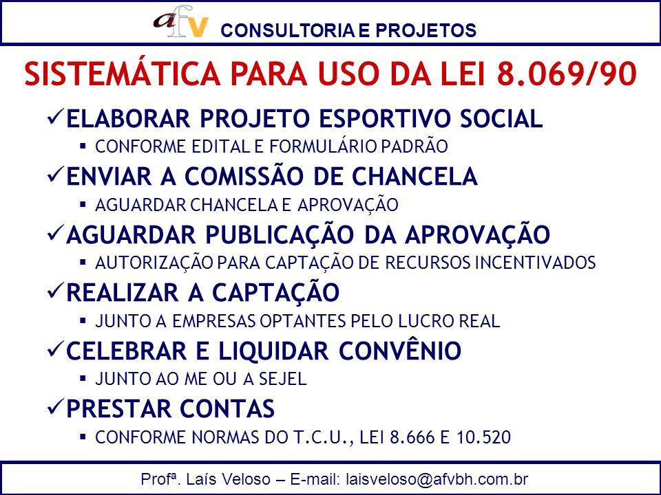 CONSULTORIA E PROJETOS Profª. Laís Veloso – E-mail: laisveloso@afvbh.com.br ELABORAR PROJETO ESPORTIVO SOCIAL CONFORME EDITAL E FORMULÁRIO PADRÃO ENVI