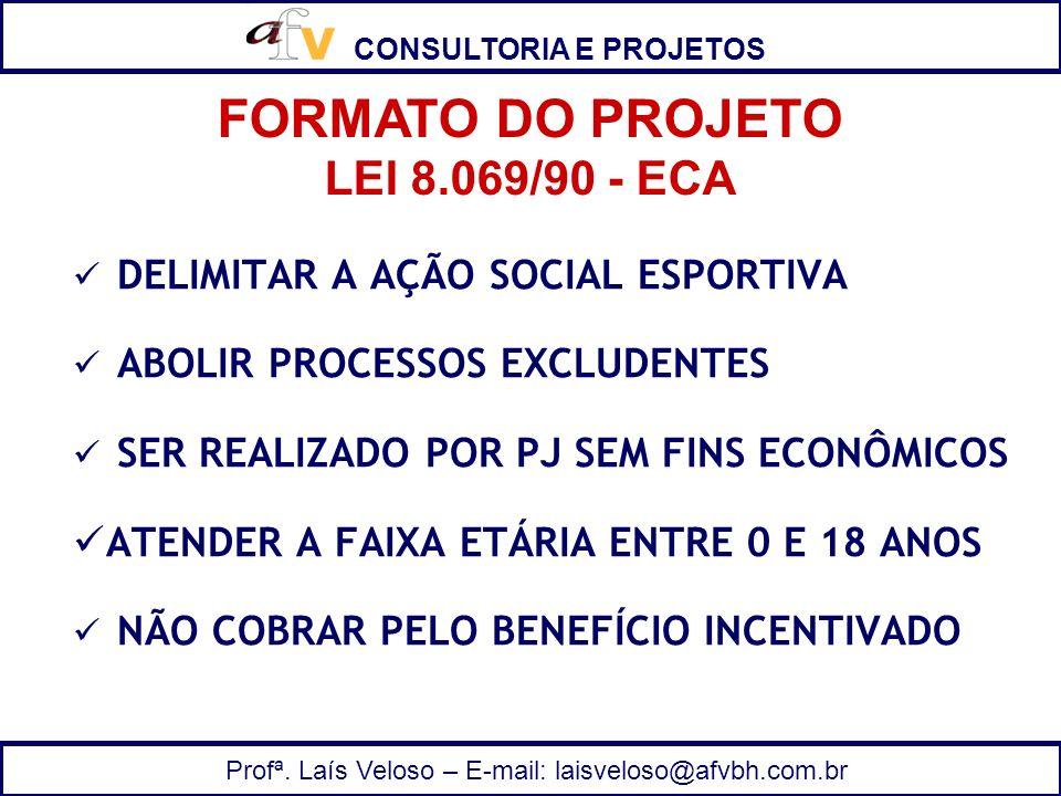 CONSULTORIA E PROJETOS Profª. Laís Veloso – E-mail: laisveloso@afvbh.com.br DELIMITAR A AÇÃO SOCIAL ESPORTIVA ABOLIR PROCESSOS EXCLUDENTES SER REALIZA