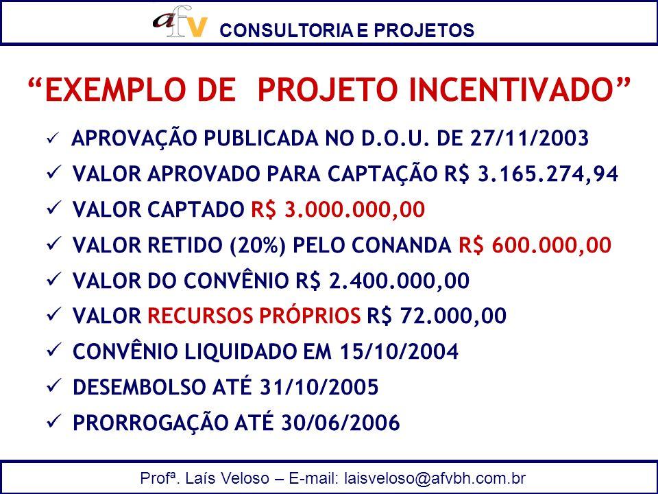 CONSULTORIA E PROJETOS Profª. Laís Veloso – E-mail: laisveloso@afvbh.com.br EXEMPLO DE PROJETO INCENTIVADO APROVAÇÃO PUBLICADA NO D.O.U. DE 27/11/2003