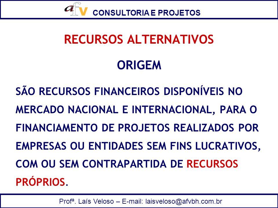 CONSULTORIA E PROJETOS Profª. Laís Veloso – E-mail: laisveloso@afvbh.com.br RECURSOS ALTERNATIVOS ORIGEM SÃO RECURSOS FINANCEIROS DISPONÍVEIS NO MERCA