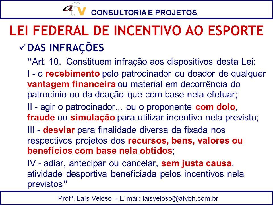 CONSULTORIA E PROJETOS Profª. Laís Veloso – E-mail: laisveloso@afvbh.com.br DAS INFRAÇÕES Art. 10. Constituem infração aos dispositivos desta Lei: I -