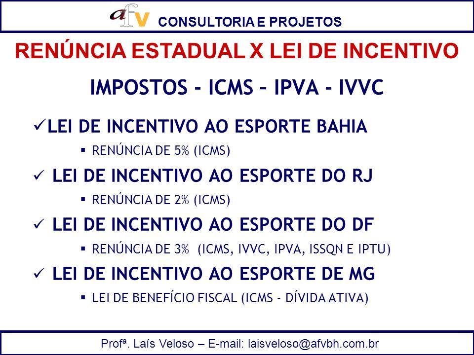 CONSULTORIA E PROJETOS Profª. Laís Veloso – E-mail: laisveloso@afvbh.com.br IMPOSTOS - ICMS – IPVA - IVVC LEI DE INCENTIVO AO ESPORTE BAHIA RENÚNCIA D