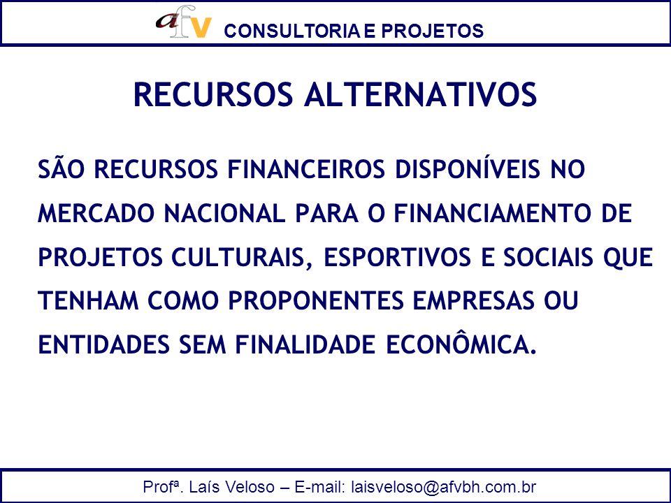 CONSULTORIA E PROJETOS Profª. Laís Veloso – E-mail: laisveloso@afvbh.com.br RECURSOS ALTERNATIVOS SÃO RECURSOS FINANCEIROS DISPONÍVEIS NO MERCADO NACI