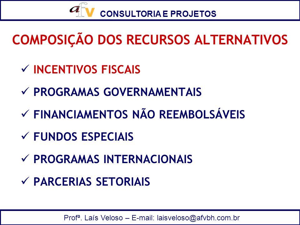 CONSULTORIA E PROJETOS Profª. Laís Veloso – E-mail: laisveloso@afvbh.com.br COMPOSIÇÃO DOS RECURSOS ALTERNATIVOS INCENTIVOS FISCAIS PROGRAMAS GOVERNAM