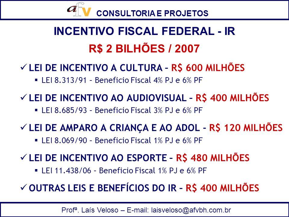 CONSULTORIA E PROJETOS Profª. Laís Veloso – E-mail: laisveloso@afvbh.com.br LEI DE INCENTIVO A CULTURA – R$ 600 MILHÕES LEI 8.313/91 – Beneficio Fisca