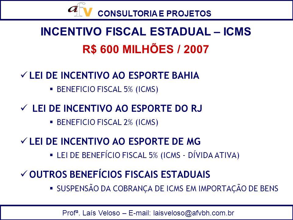 CONSULTORIA E PROJETOS Profª. Laís Veloso – E-mail: laisveloso@afvbh.com.br LEI DE INCENTIVO AO ESPORTE BAHIA BENEFICIO FISCAL 5% (ICMS) LEI DE INCENT
