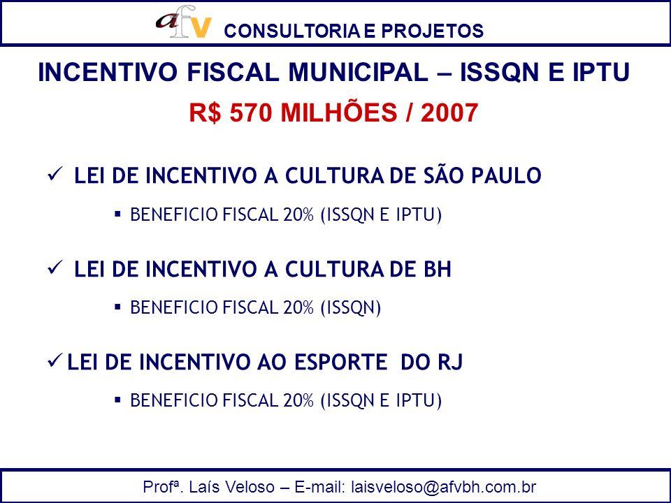 CONSULTORIA E PROJETOS Profª. Laís Veloso – E-mail: laisveloso@afvbh.com.br LEI DE INCENTIVO A CULTURA DE SÃO PAULO BENEFICIO FISCAL 20% (ISSQN E IPTU