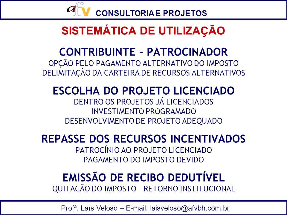 CONSULTORIA E PROJETOS Profª. Laís Veloso – E-mail: laisveloso@afvbh.com.br CONTRIBUINTE - PATROCINADOR OPÇÃO PELO PAGAMENTO ALTERNATIVO DO IMPOSTO DE