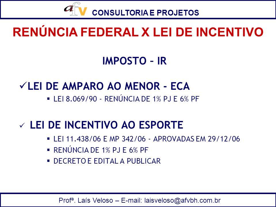 CONSULTORIA E PROJETOS Profª. Laís Veloso – E-mail: laisveloso@afvbh.com.br IMPOSTO – IR LEI DE AMPARO AO MENOR - ECA LEI 8.069/90 - RENÚNCIA DE 1% PJ