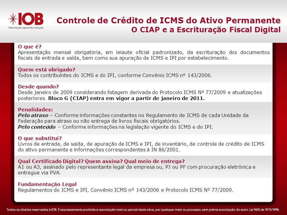 Controle de Crédito de ICMS do Ativo Permanente O CIAP e a Escrituração Fiscal Digital O que é.