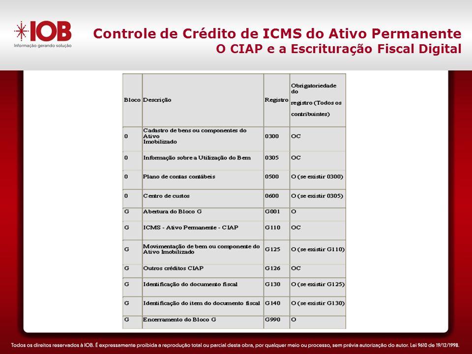 Controle de Crédito de ICMS do Ativo Permanente O CIAP e a Escrituração Fiscal Digital