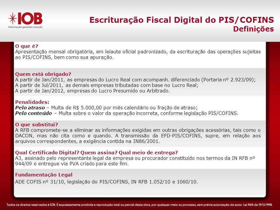 Escrituração Fiscal Digital do PIS/COFINS Definições O que é.