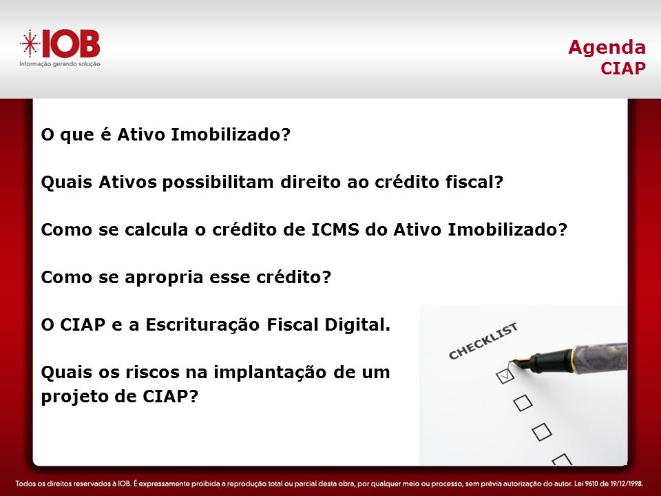 LINHAS GERAIS: Falta de investimento na área de negócios - Não investir em ferramentas de gestão tributária - Não investir na capacitação das pessoas envolvidas - Não investir em acompanhamento das mudanças na legislação Implementação de Projetos SPED - Considerar um projeto exclusivamente de TI, quando é corporativo ESPECIFICAMENTE SOBRE A EFD PIS/COFINS: Procedimentos fiscais: - Não identificar todos os documentos fiscais geradores do crédito, conforme artigo 11 da IN RFB nº 1.015/2010; - Não certificar a qualidade dos saldos iniciais dos créditos Criação/Configurações/parametrizações de Sistemas: - Evidenciar a escrituração por estabelecimento e apuração por matriz - Não conciliar as informações fiscais com as informações contábeis Escrituração Fiscal Digital do PIS/COFINS Quais os riscos na implantação do projeto?