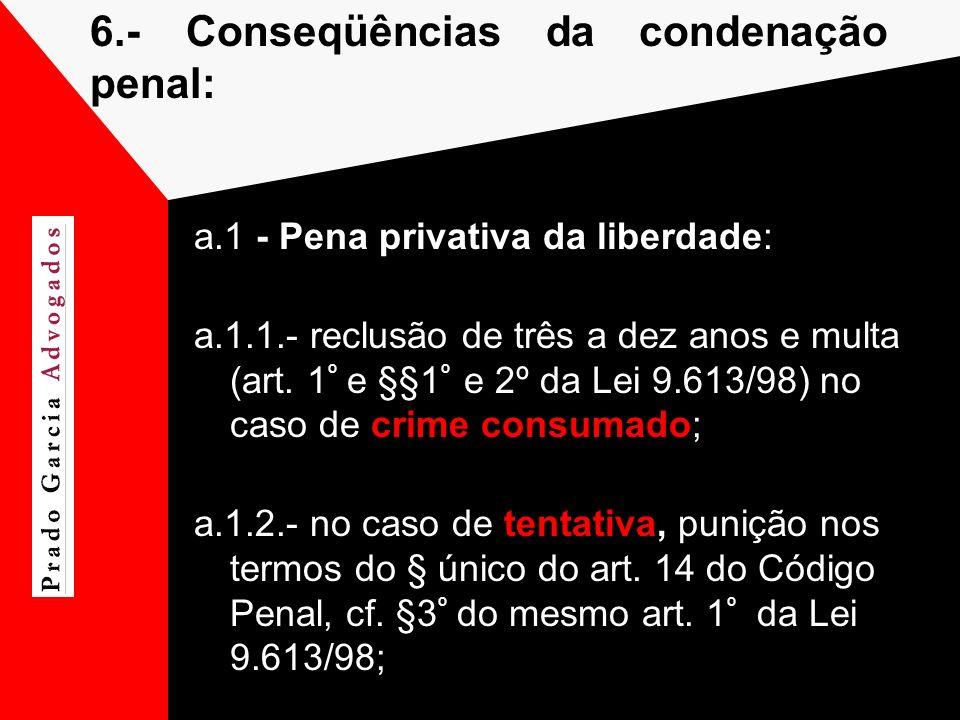 6.-Conseqüências da condenação penal: a.1 - Pena privativa da liberdade: a.1.1.- reclusão de três a dez anos e multa (art. 1 º e §§1 º e 2º da Lei 9.6
