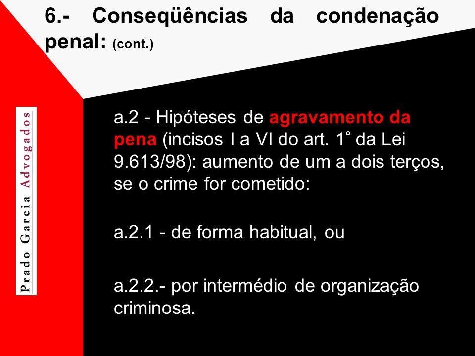 6.-Conseqüências da condenação penal: (cont.) a.2 - Hipóteses de agravamento da pena (incisos I a VI do art. 1 º da Lei 9.613/98): aumento de um a doi
