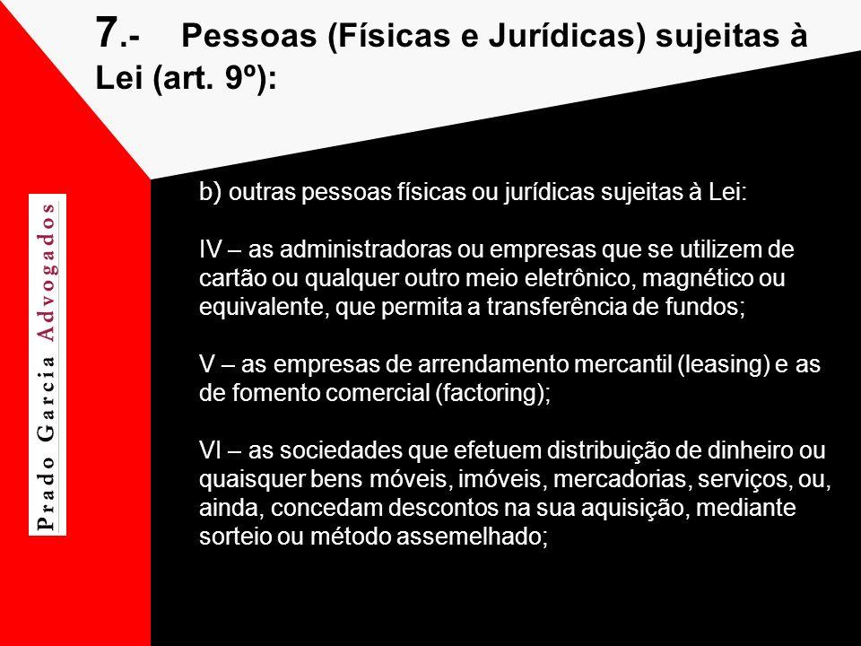 7.-Pessoas (Físicas e Jurídicas) sujeitas à Lei (art. 9º): b) outras pessoas físicas ou jurídicas sujeitas à Lei: IV – as administradoras ou empresas