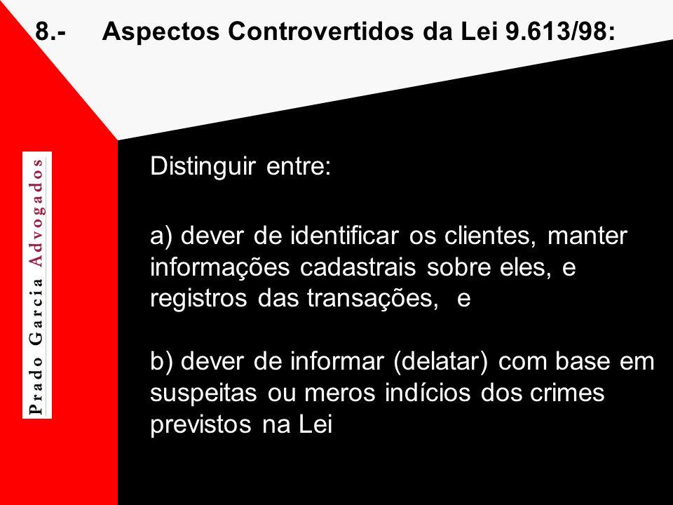 8.-Aspectos Controvertidos da Lei 9.613/98: Distinguir entre: a) dever de identificar os clientes, manter informações cadastrais sobre eles, e registr