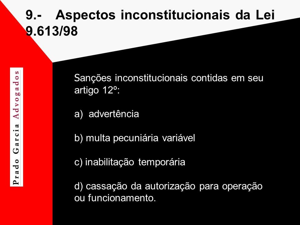 9.-Aspectos inconstitucionais da Lei 9.613/98 S anções inconstitucionais contidas em seu artigo 12º: a) advertência b) multa pecuniária variável c) in