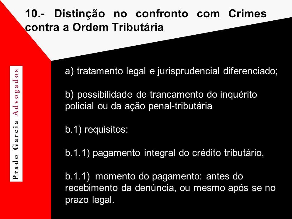10.- Distinção no confronto com Crimes contra a Ordem Tributária a) tratamento legal e jurisprudencial diferenciado; b ) possibilidade de trancamento