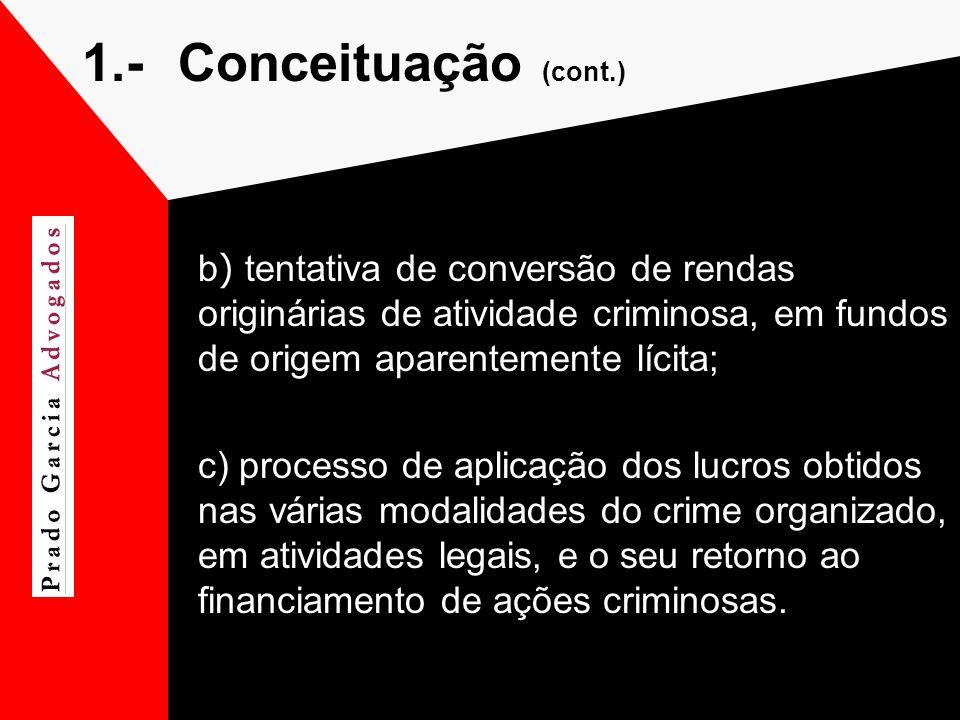 1.-Conceituação (cont.) b ) tentativa de conversão de rendas originárias de atividade criminosa, em fundos de origem aparentemente lícita; c) processo
