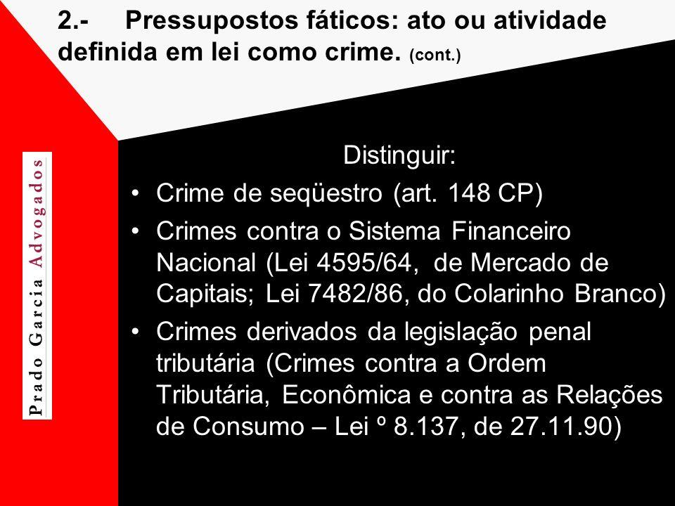 2.-Pressupostos fáticos: ato ou atividade definida em lei como crime. (cont.) Distinguir: Crime de seqüestro (art. 148 CP) Crimes contra o Sistema Fin