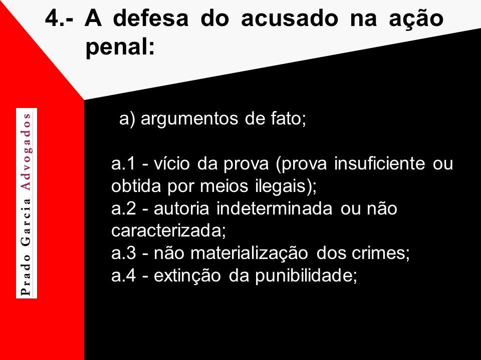 4.- A defesa do acusado na ação penal: a) argumentos de fato; a.1 - vício da prova (prova insuficiente ou obtida por meios ilegais); a.2 - autoria ind
