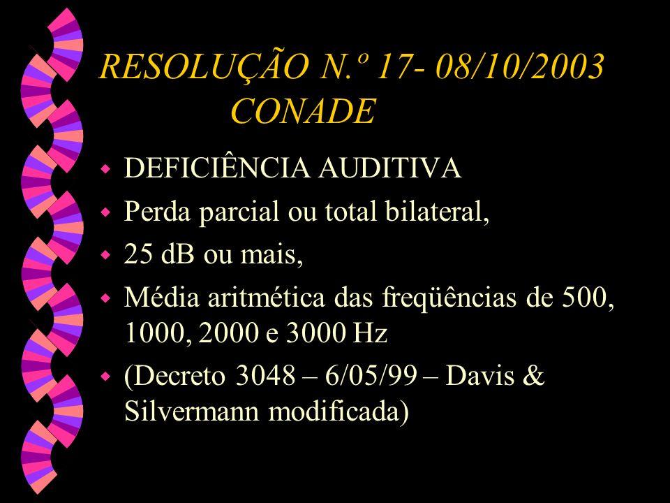 RESOLUÇÃO N.º 17- 08/10/2003 CONADE w DEFICIÊNCIA AUDITIVA w Perda parcial ou total bilateral, w 25 dB ou mais, w Média aritmética das freqüências de