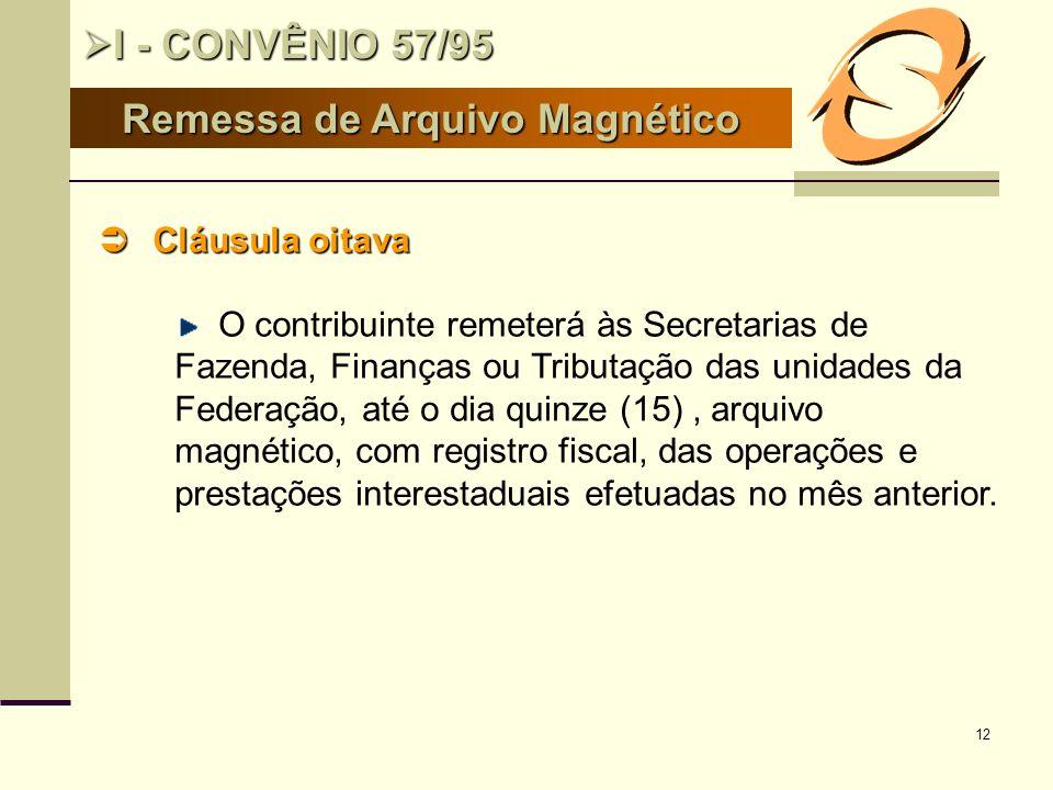12 Remessa de Arquivo Magnético I - CONVÊNIO 57/95 I - CONVÊNIO 57/95 Cláusula oitava Cláusula oitava O contribuinte remeterá às Secretarias de Fazend