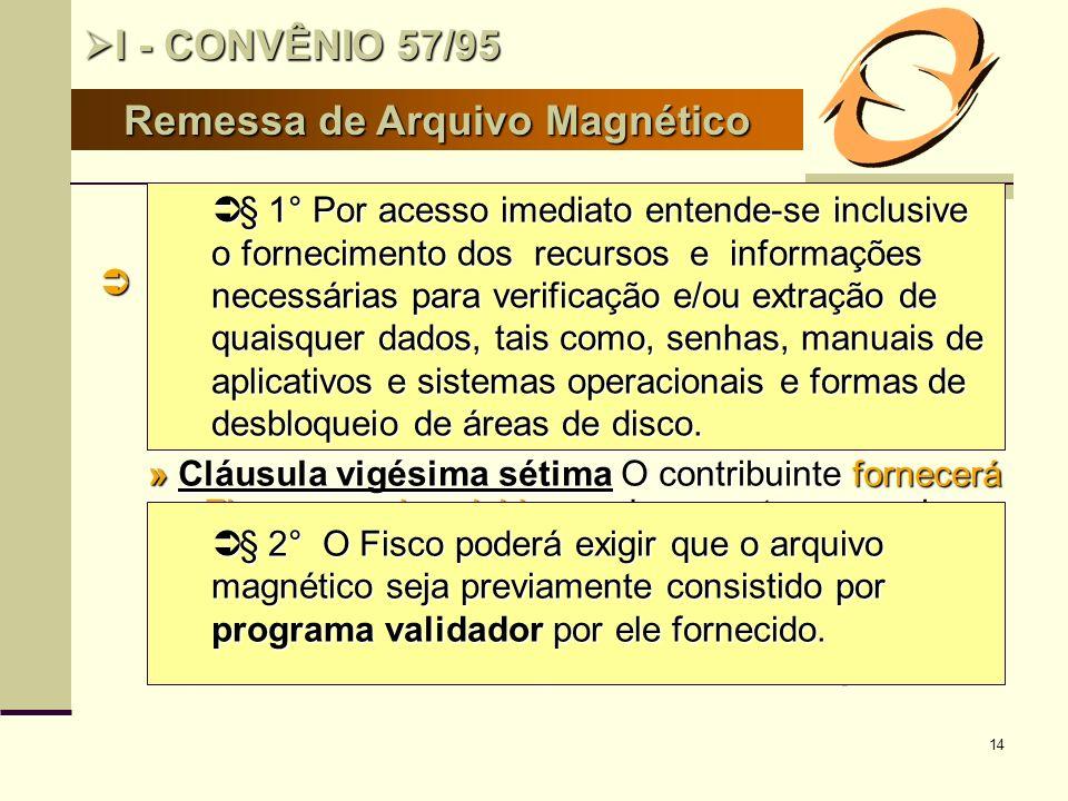 14 Remessa de Arquivo Magnético I - CONVÊNIO 57/95 I - CONVÊNIO 57/95 Obrigatoriedade da entrega ao Fisco de arquivo magnético Obrigatoriedade da entr