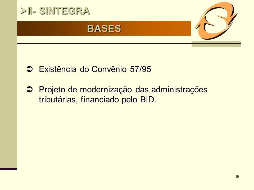 19 BASES II- SINTEGRA II- SINTEGRA Existência do Convênio 57/95 Existência do Convênio 57/95 Projeto de modernização das administrações tributárias, f