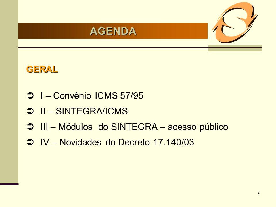 2 AGENDA GERAL I – Convênio ICMS 57/95 II – SINTEGRA/ICMS III – Módulos do SINTEGRA – acesso público IV – Novidades do Decreto 17.140/03