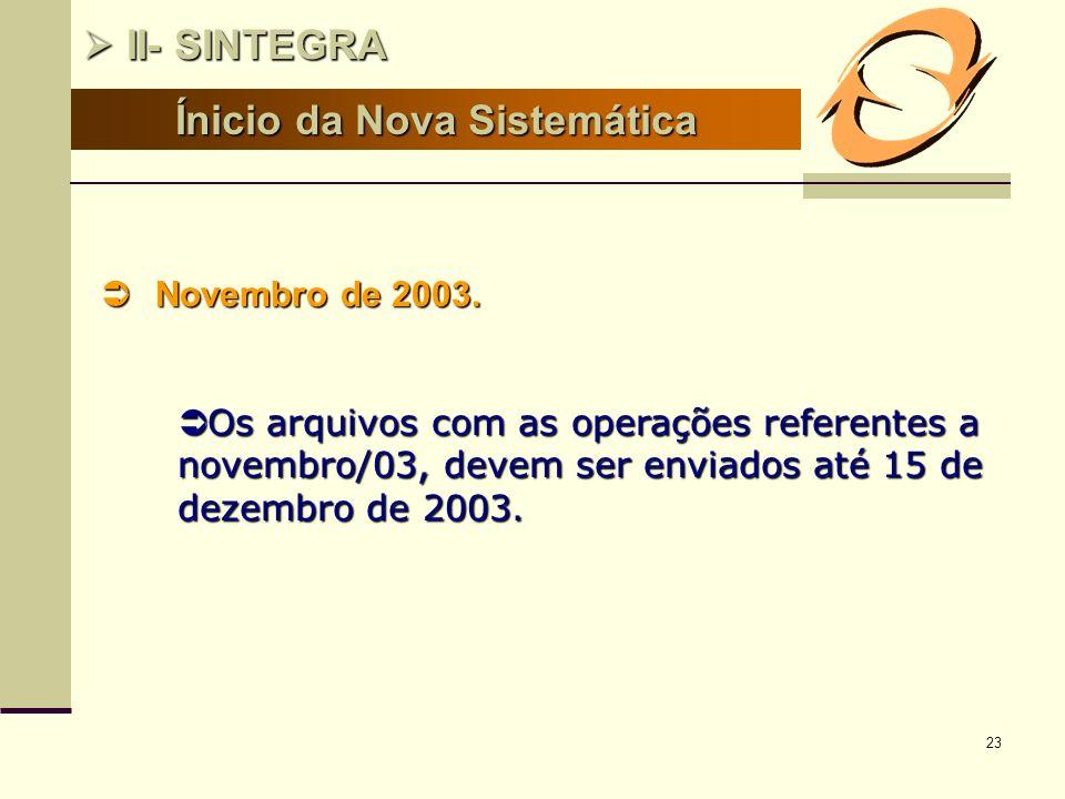 23 Ínicio da Nova Sistemática II- SINTEGRA II- SINTEGRA Novembro de 2003. Novembro de 2003. Os arquivos com as operações referentes a novembro/03, dev