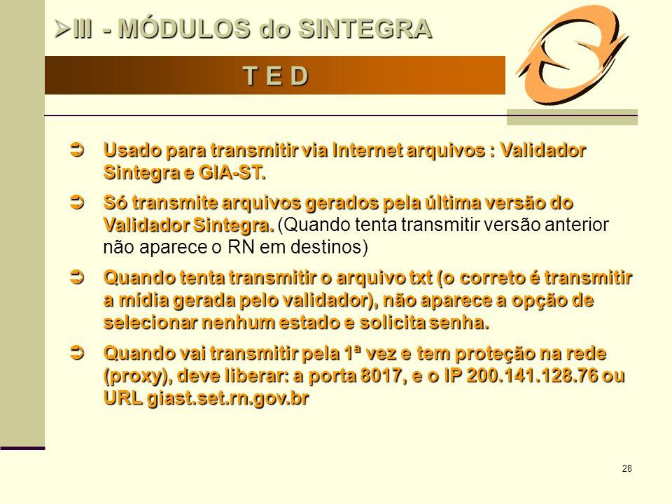 28 T E D III - MÓDULOS do SINTEGRA III - MÓDULOS do SINTEGRA Usado para transmitir via Internet arquivos : Validador Sintegra e GIA-ST. Usado para tra