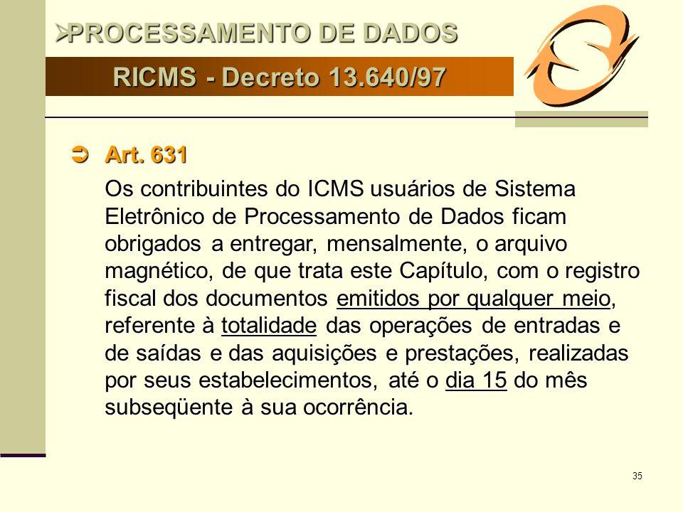 35 RICMS - Decreto 13.640/97 Art. 631 Art. 631 Os contribuintes do ICMS usuários de Sistema Eletrônico de Processamento de Dados ficam obrigados a ent