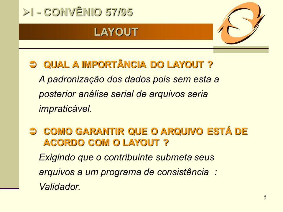 5 LAYOUT I - CONVÊNIO 57/95 I - CONVÊNIO 57/95 QUAL A IMPORTÂNCIA DO LAYOUT ? QUAL A IMPORTÂNCIA DO LAYOUT ? A padronização dos dados pois sem esta a