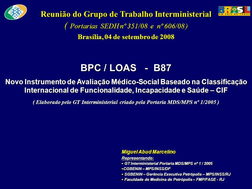 Reunião do Grupo de Trabalho Interministerial ( Portarias SEDH nº 351/08 e nº 606/08 ) Brasília, 04 de setembro de 2008 BPC / LOAS - B87 Novo Instrume