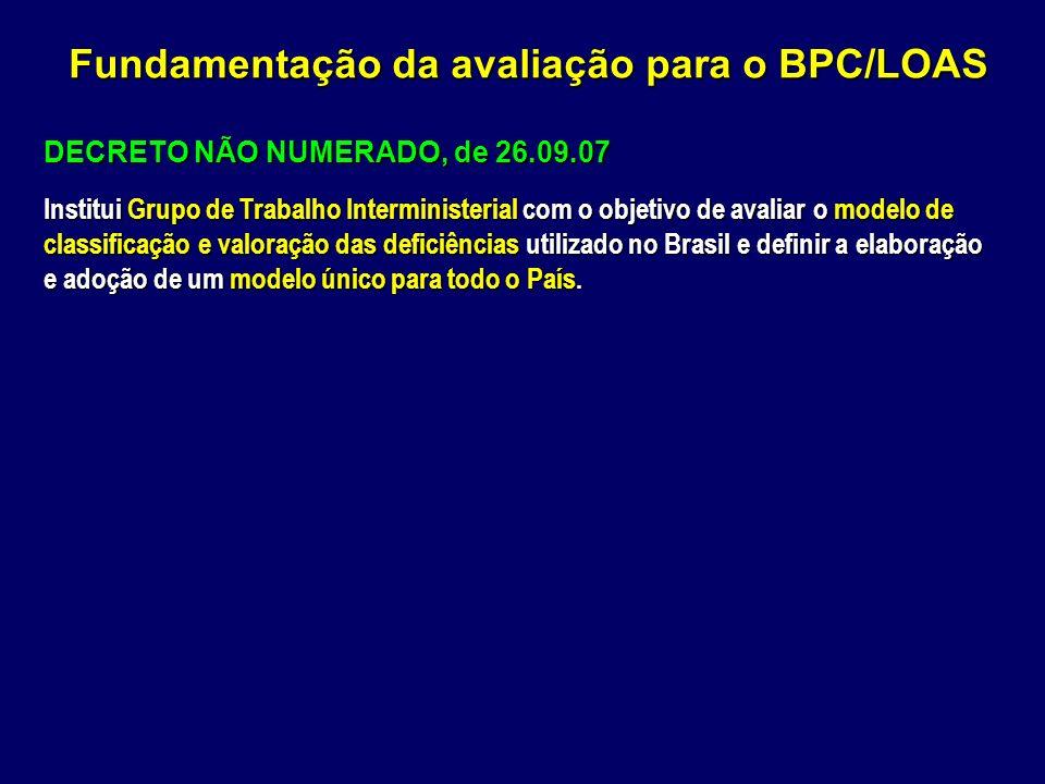 DECRETO NÃO NUMERADO, de 26.09.07 Institui Grupo de Trabalho Interministerial com o objetivo de avaliar o modelo de classificação e valoração das defi