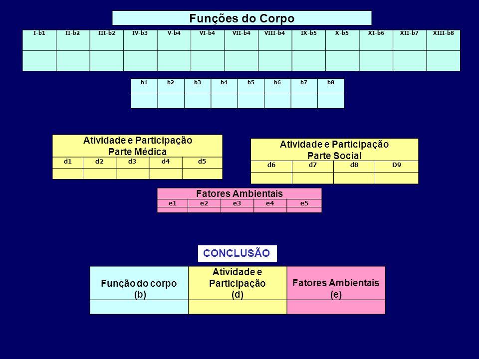 Atividade e Participação Parte Médica d1d2d3d4d5 Atividade e Participação Parte Social d6d7d8D9 Fatores Ambientais e1e2e3e4e5 Funções do Corpo I-b1II-