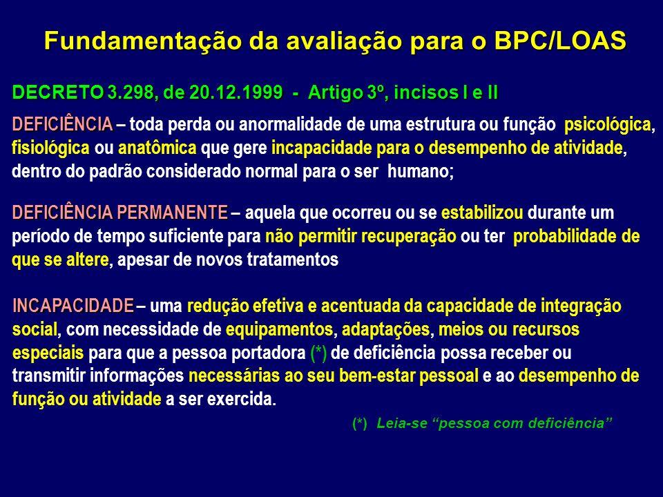 DECRETO 3.298, de 20.12.1999 - Artigo 3º, incisos I e II DEFICIÊNCIA DEFICIÊNCIA – toda perda ou anormalidade de uma estrutura ou função psicológica,