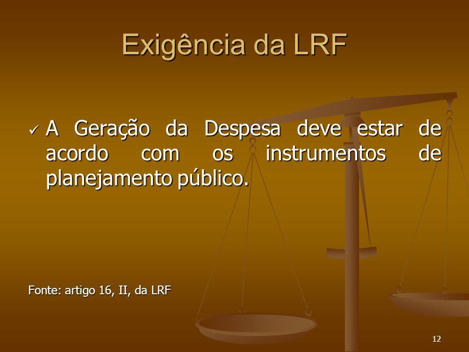 12 Exigência da LRF A Geração da Despesa deve estar de acordo com os instrumentos de planejamento público. A Geração da Despesa deve estar de acordo c