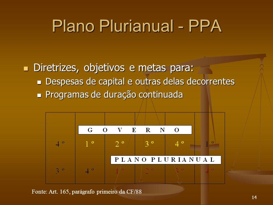 14 Plano Plurianual - PPA Diretrizes, objetivos e metas para: Diretrizes, objetivos e metas para: Despesas de capital e outras delas decorrentes Despe