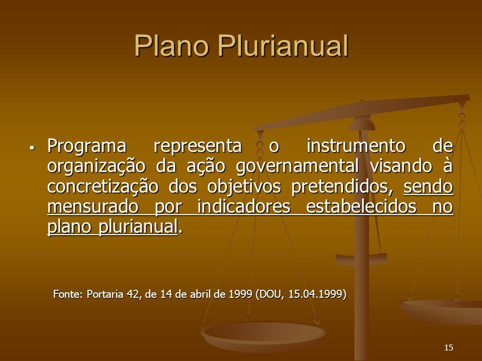 15 Plano Plurianual Programa representa o instrumento de organização da ação governamental visando à concretização dos objetivos pretendidos, sendo me