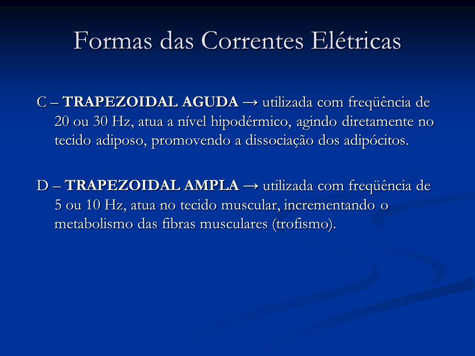 Formas das Correntes Elétricas C – TRAPEZOIDAL AGUDA utilizada com freqüência de 20 ou 30 Hz, atua a nível hipodérmico, agindo diretamente no tecido a