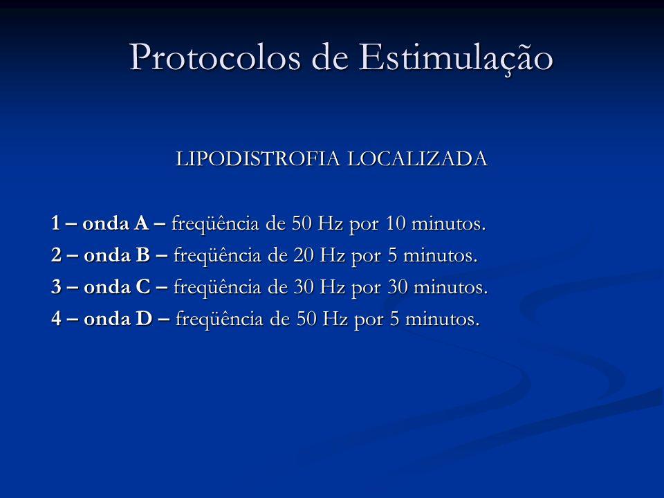 Protocolos de Estimulação LIPODISTROFIA LOCALIZADA 1 – onda A – freqüência de 50 Hz por 10 minutos. 2 – onda B – freqüência de 20 Hz por 5 minutos. 3
